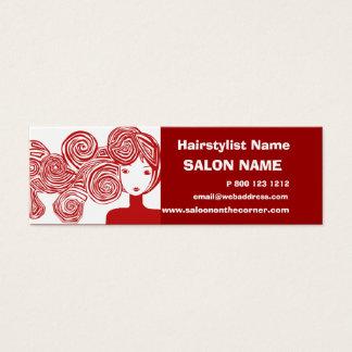 Cartão De Visitas Mini Cabeleireiro vermelho da senhora Clássico Salão de