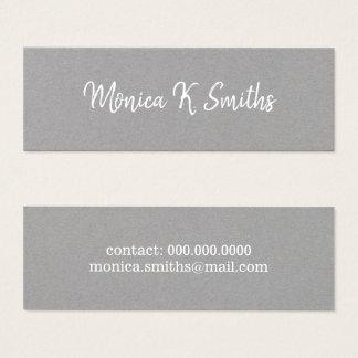 Cartão De Visitas Mini cinzas elegantes & modernas do roteiro-pia-estilo