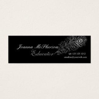 Cartão De Visitas Mini Cinzas na moda da pena do pavão das penas da