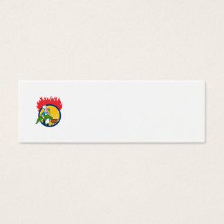 Cartão De Visitas Mini Círculo Carto do fogo da grade do CHURRASCO da
