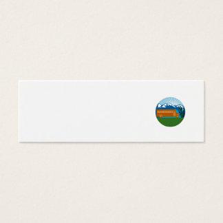Cartão De Visitas Mini Círculo das montanhas do cacto do vintage do auto