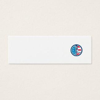 Cartão De Visitas Mini Círculo ereto R da bandeira dos EUA da chave de