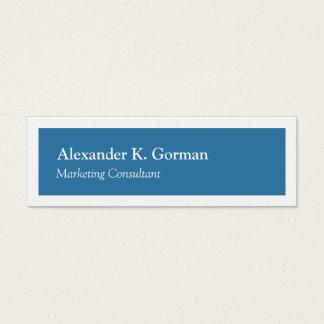 Cartão De Visitas Mini Clássico azul do colbalt contínuo branco pequeno