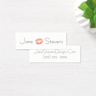 Cartão De Visitas Mini Compo o beijo do batom do artista minimalista