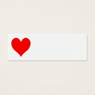 Cartão De Visitas Mini Coração bonito vermelho brilhante contínuo