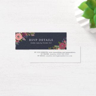 Cartão De Visitas Mini Coram & as flores de Borgonha - detalhes de RSVP