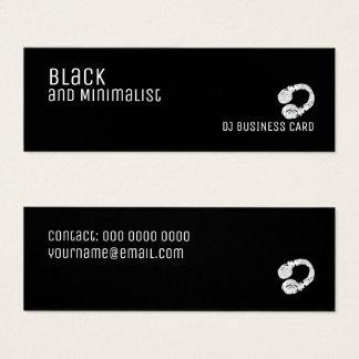 Cartão De Visitas Mini DJ preto e minimalista