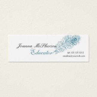 Cartão De Visitas Mini Escrita moderna profissional da pena azul do pavão