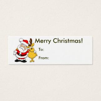 Cartão De Visitas Mini Feliz Natal do Tag do papai noel