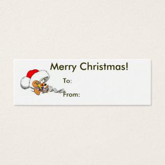Cartão De Visitas Mini Feliz Natal do Tag do rato do papai noel