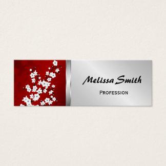 Cartão De Visitas Mini Flores de cerejeira preto e branco vermelhas