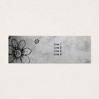Cartão De Visitas Mini Flores preto e branco