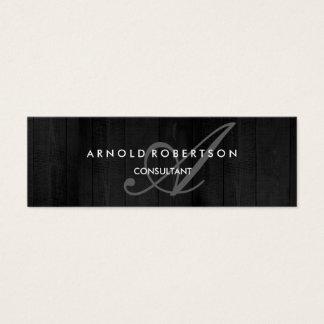 Cartão De Visitas Mini Fundo de madeira cinzento na moda do monograma