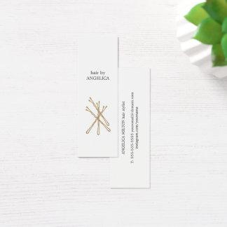Cartão De Visitas Mini Hairstylist elegante minimalista dos pinos de