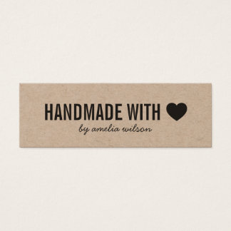 Cartão De Visitas Mini Handmade rústico com meios do Social de Kraft do