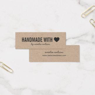 Cartão De Visitas Mini Handmade rústico do coração simples com amor Kraft