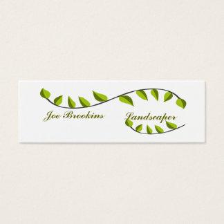 Cartão De Visitas Mini Ilustração verde natural orgânica da folha