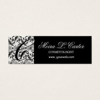 Cartão De Visitas Mini Laço elegante floral do preto do damasco do