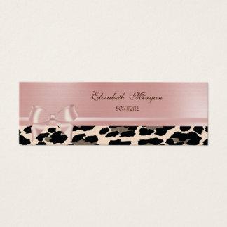 Cartão De Visitas Mini Leopardo chique à moda elegante, arco cor-de-rosa