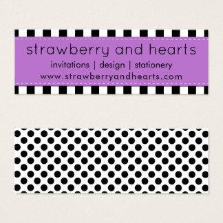 Cartão De Visitas Mini Listras, linhas, bolinhas - roxo preto branco