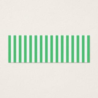 Cartão De Visitas Mini Listras verticais brancas e esmeraldas