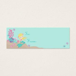 Cartão De Visitas Mini Louro pequeno do Tag S do presente da sereia TY