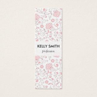 Cartão De Visitas Mini Luz elegante - teste padrão floral cor-de-rosa