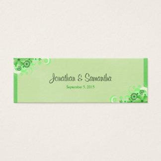 Cartão De Visitas Mini Luz - Tag pequenos florais verdes do favor do