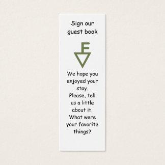 Cartão De Visitas Mini Marcador de livro de hóspedes da família de Fisher