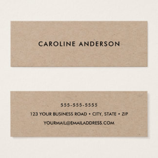 Cartão De Visitas Mini Minimalista profissional rústico do papel de