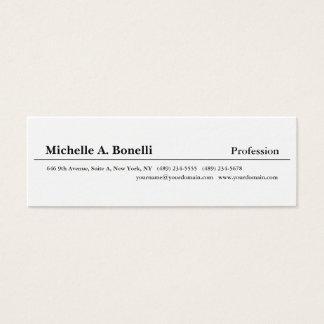 Cartão De Visitas Mini Moderno minimalista branco preto liso simples