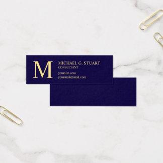 Cartão De Visitas Mini Monograma elegante dos azuis marinhos e do ouro