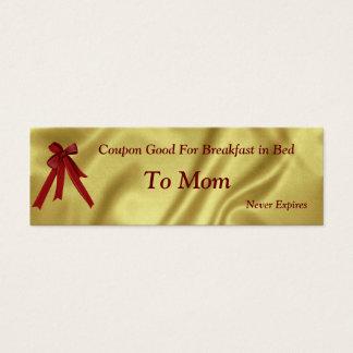 Cartão De Visitas Mini Natal do vale para o pequeno almoço da mamã na