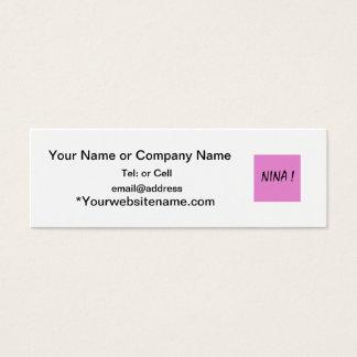 Cartão De Visitas Mini Nome das meninas do texto de Nina com fundo