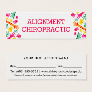 Cartão De Visitas Mini Nomeação simples do Chiropractor das mãos