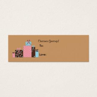 Cartão De Visitas Mini O feriado festivo empacota Tag do presente