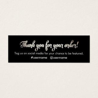 Cartão De Visitas Mini Obrigado da prata da apreciação do cliente você