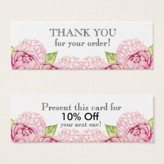 Cartão De Visitas Mini Obrigado magro floral de Watecolor você com