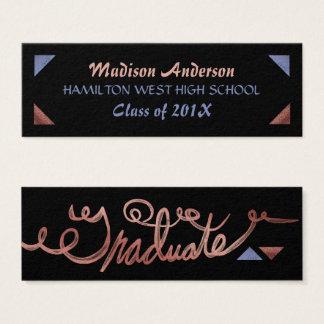 Cartão De Visitas Mini Ouro cor-de-rosa da inserção do último ano do