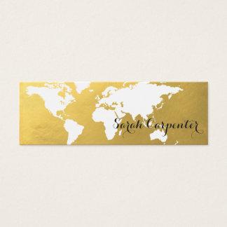 Cartão De Visitas Mini Ouro | do falso do mapa do mundo | elegante