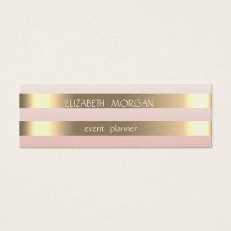 Cartão De Visitas Mini Ouro moderno à moda elegante do falso listrado,