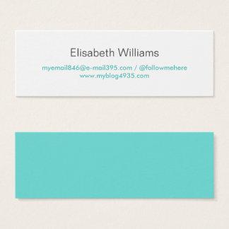 Cartão De Visitas Mini Pessoal elegante simples genérico moderno azul do