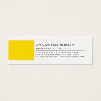 Cartão De Visitas Mini Planície amarela branca criativa elegante