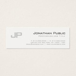 Cartão De Visitas Mini Planície simples elegante Monogrammed do design