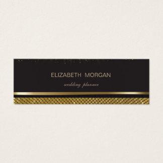 Cartão De Visitas Mini Preto à moda elegante, Sequins do ouro, confetes
