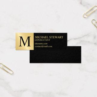 Cartão De Visitas Mini Preto e monograma elegante do ouro