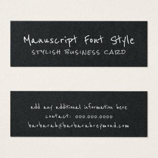 Cartão De Visitas Mini preto informal do pia-estilo legal do manuscrito