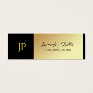 Cartão De Visitas Mini Preto Monogrammed e criativo luxuoso liso do ouro