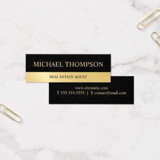 Cartão De Visitas Mini Preto profissional e ouro