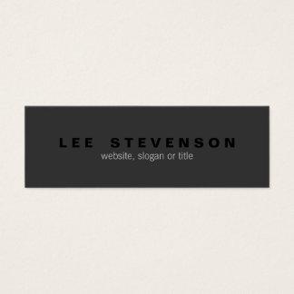 Cartão De Visitas Mini Profissional moderno preto simples de Minimalistic